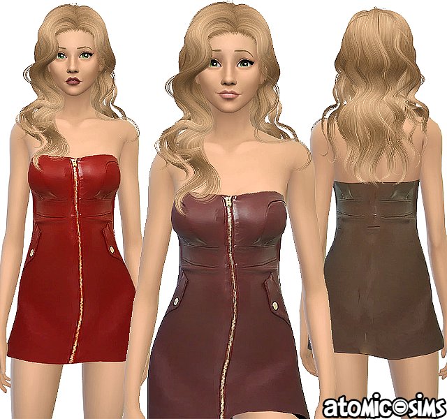 Forever21 faux leather zip front tube dress by Atomic-sims