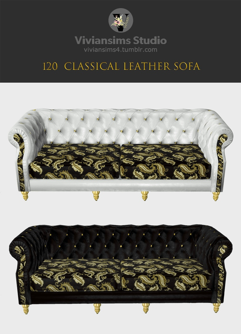 120 Classical Leather Sofa by Viviansims4