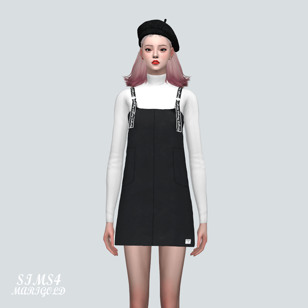 Body Suspenders Mini Dress With Turtleneck Top by Marigold
