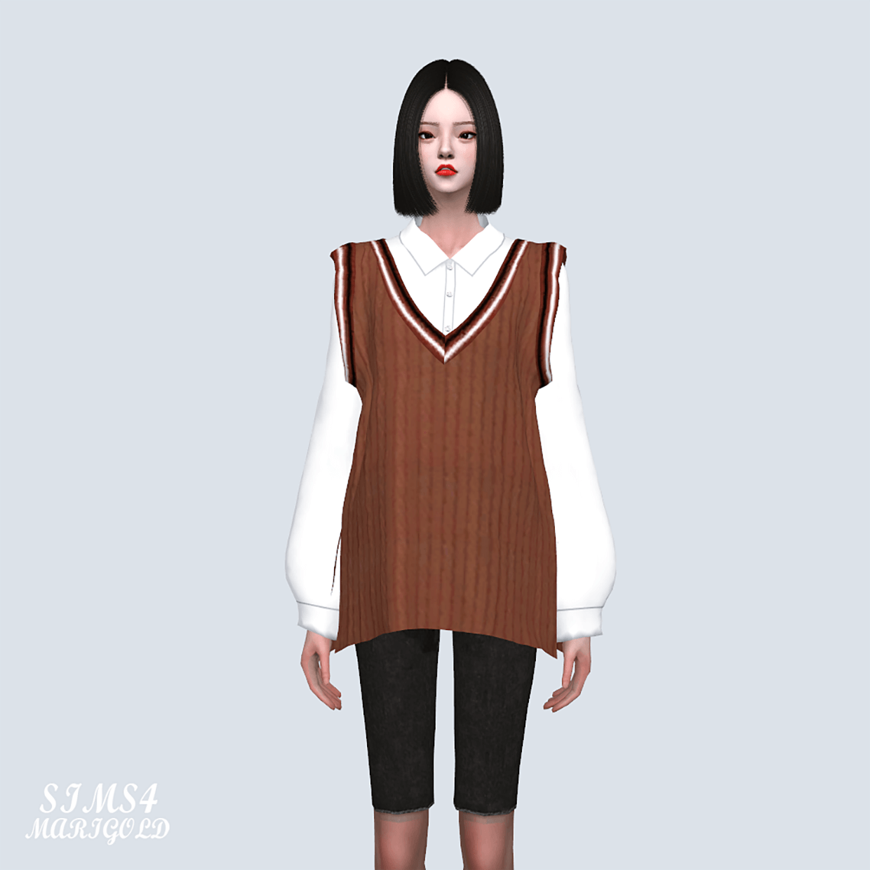 Top MG Knit Vest With Shirts by Marigold