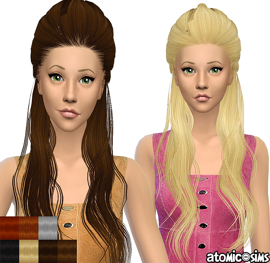 Xmsims3 Flora Hair 07 simgarooped retextured by Atomic-sims