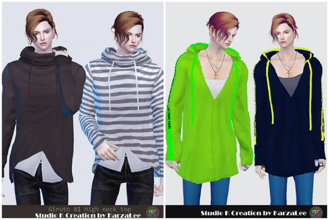 81 high neck top & 82 V-neck hoodie top by by karzalee