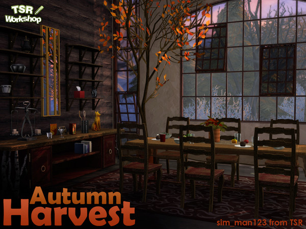 MESH REQUIRED - Autumn Harvest Dining Room by sim_man123