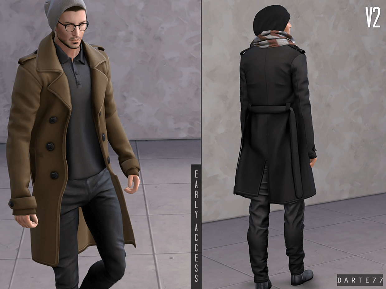 Double Breasted Long Coat (Polo Shirt) V2 by Darte77