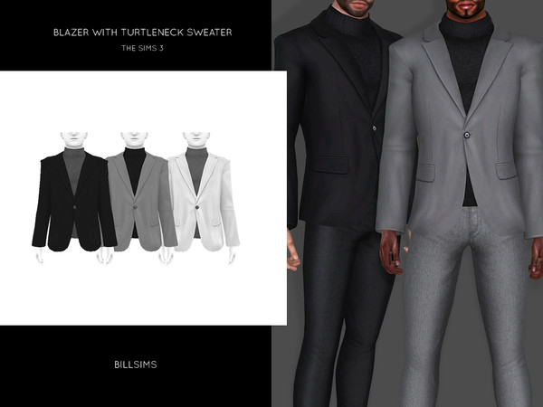 Blazer with Turtleneck Sweater by Bill Sims