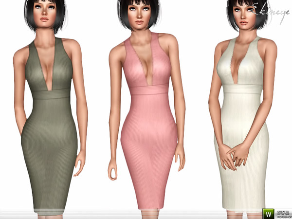 Rib Plunge Neck Midi Dress by ekinege
