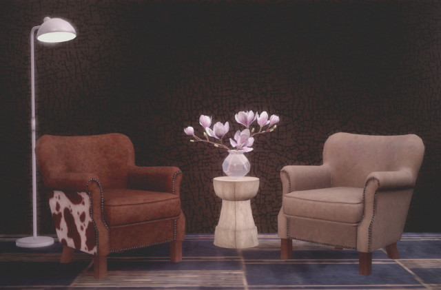 Professor chair and Magnolia in glass vase for Sims3 by pocci