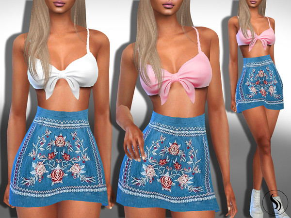 Female Front Tie Top Skirt Outfits by Saliwa