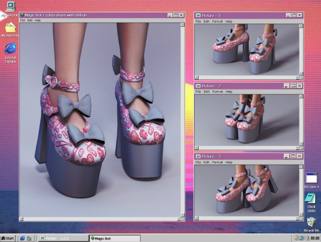 Lolita shoes with ribbon by Magic-Bot
