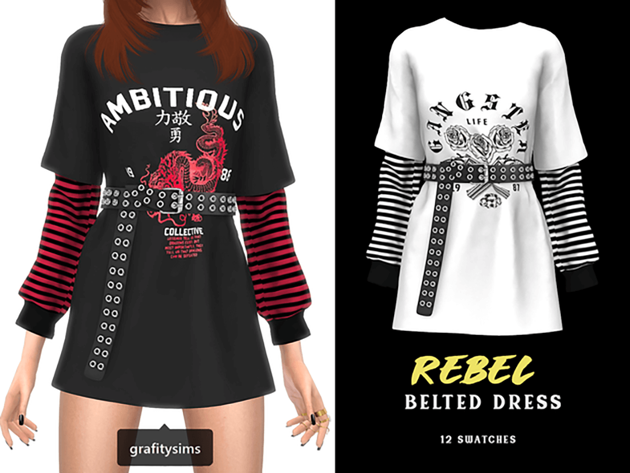 Rebel Belted Dress by Grafity-CC