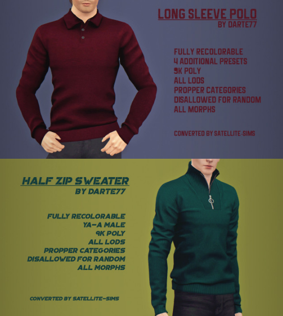 Long Sleeve Polo & Half Zip Sweater by Satellite-Sims