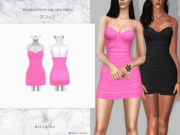 Ruched Cup Detail Mini Dress by Bill Sims