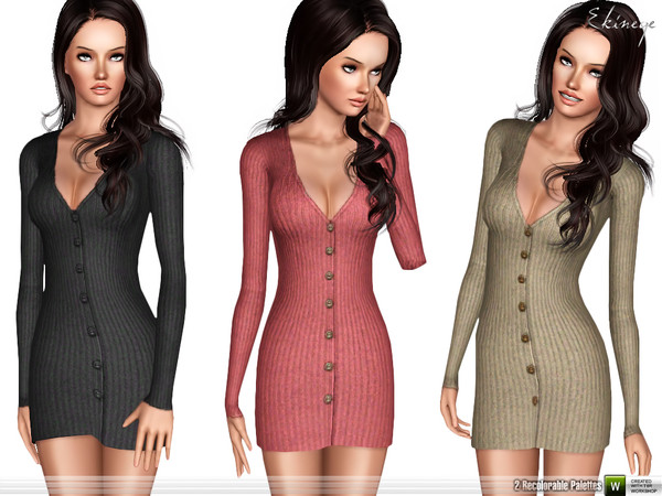 Ribbed Button-Down Dress by ekinege