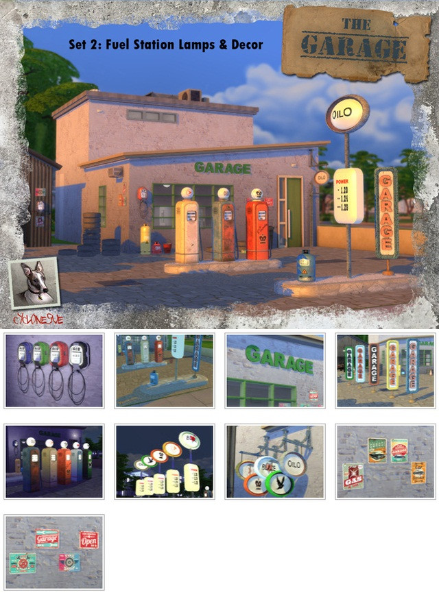 The Garage - Set 2: Filling Station Lamps and Decor by Cyclonesue
