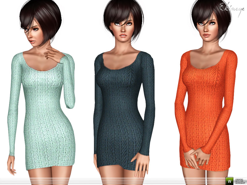 Textured Sweater Dress by ekinege