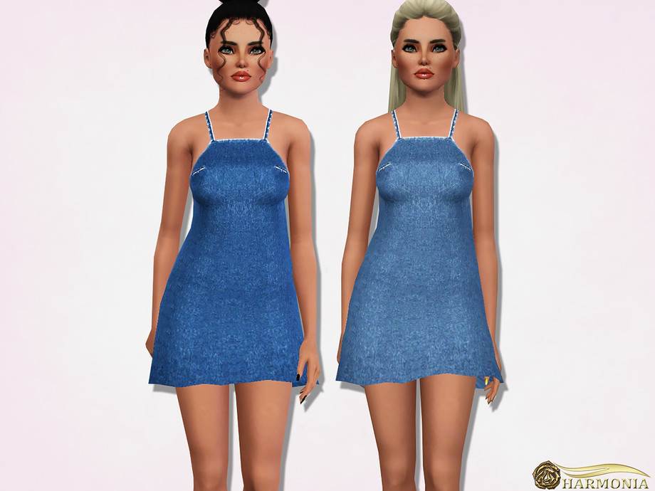 Denim Halter Neck Midwash Mini Dress by Harmonia