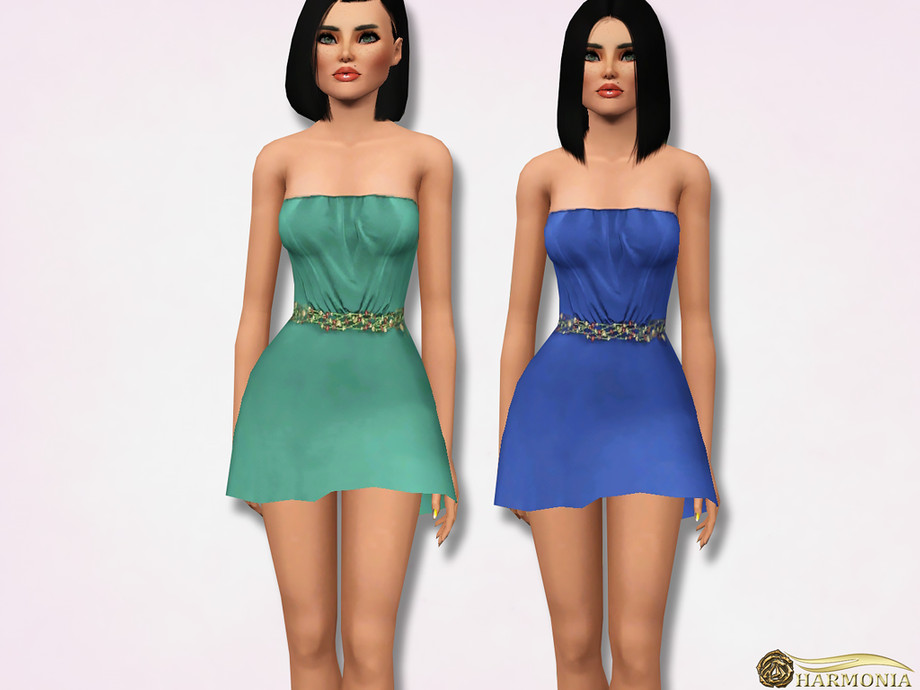Skater Dress With Beading Belt by Harmonia