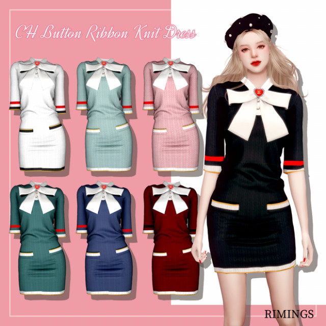 CH Button Ribbon Knit Dress by RIMINGS