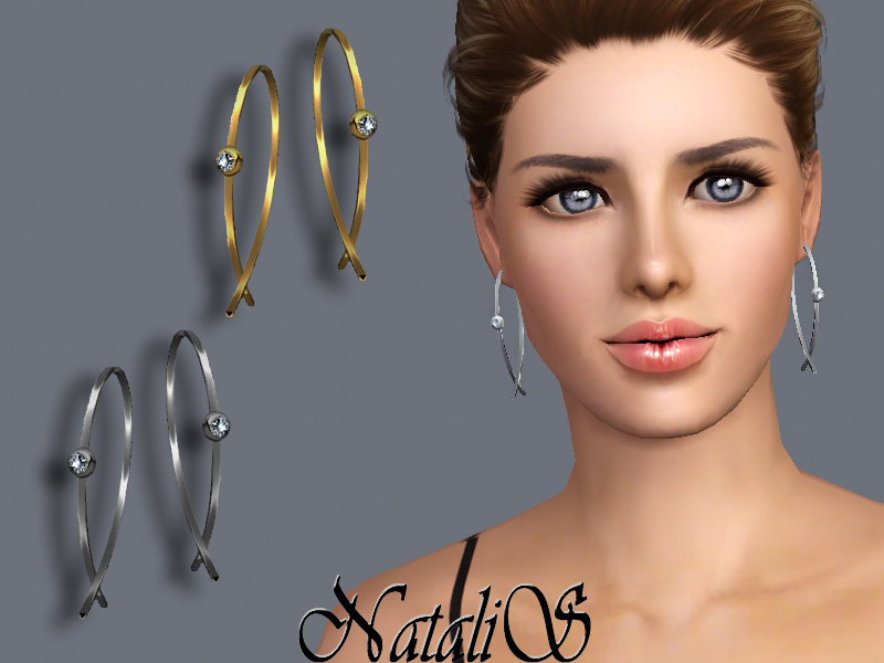 NataliS TS3 Modern wire earrings with crystals
