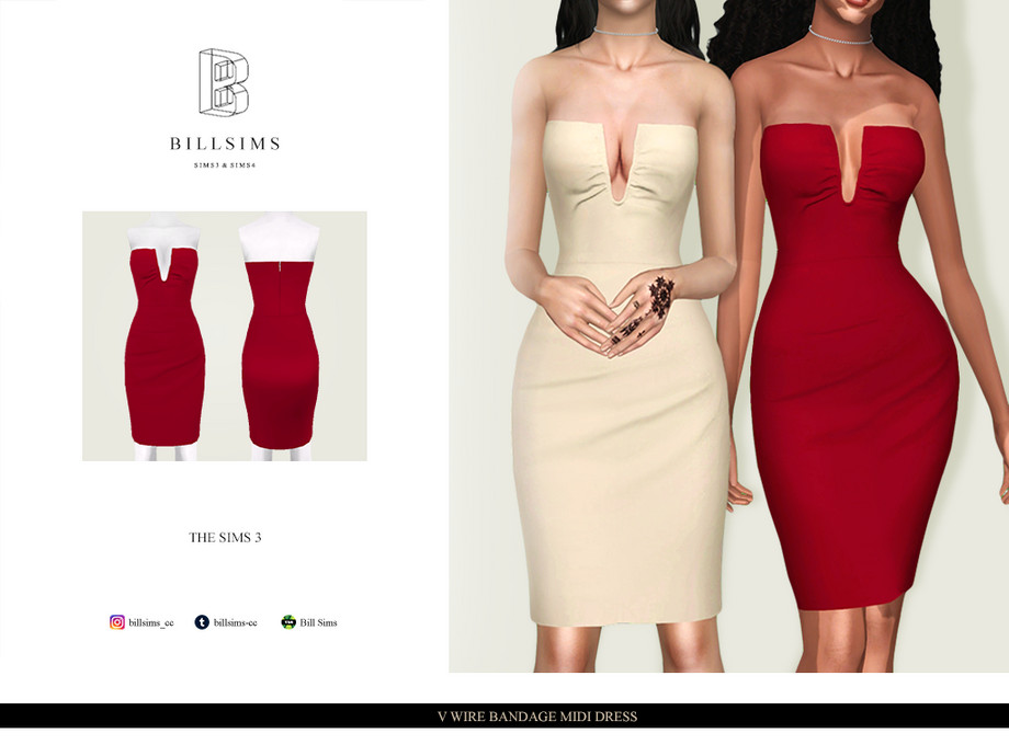 V Wire Bandage Midi Dress by Bill Sims