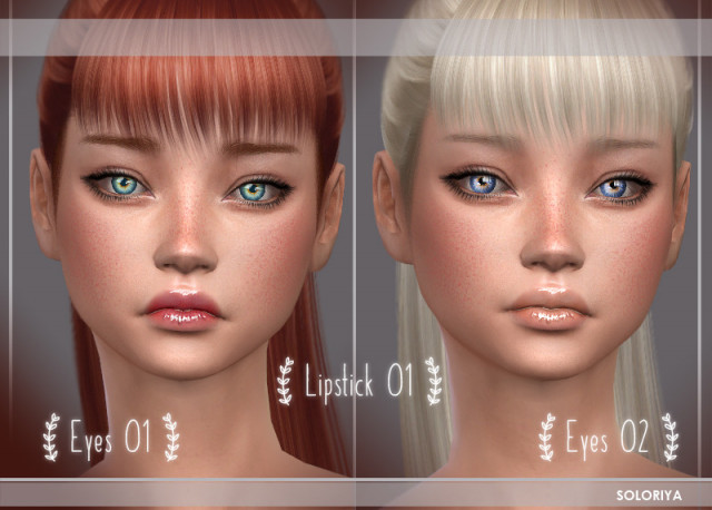 Eyes 01, 02 + Lipstick 01 by Soloriya
