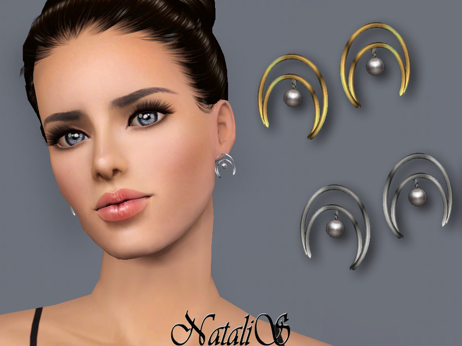 NataliS TS3 Crescent moon pearl earrings