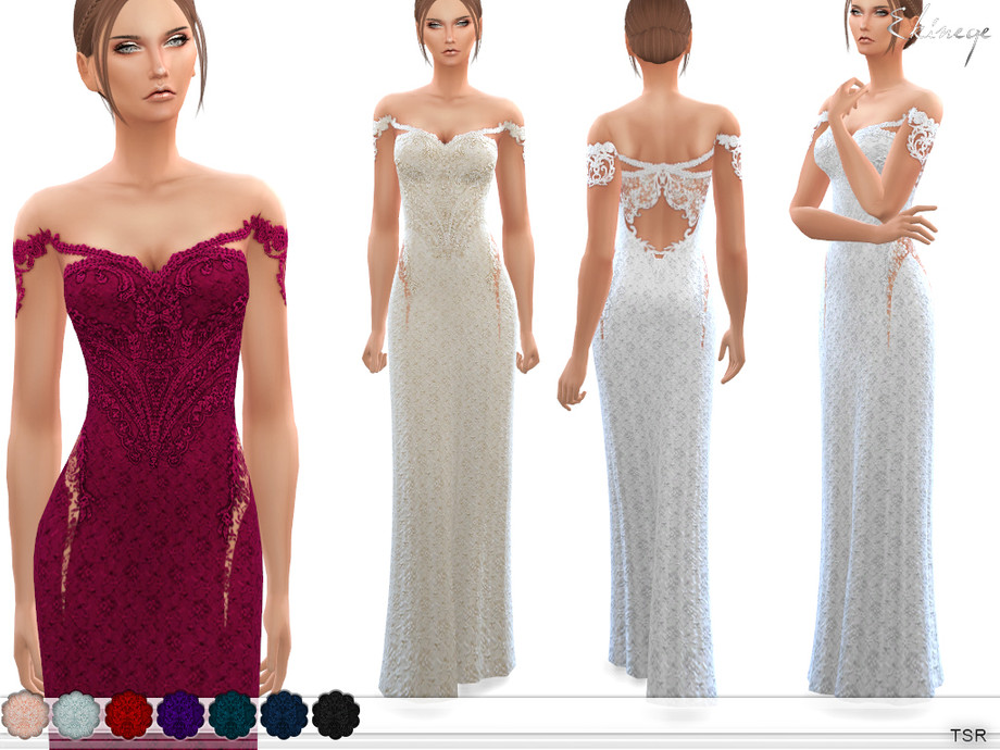 Off The Shoulder Lace Gown by ekinege
