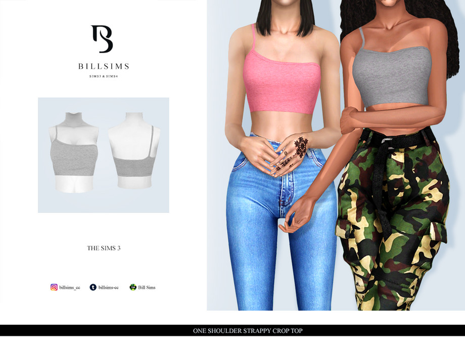 One Shoulder Strappy Crop Top by Bill Sims
