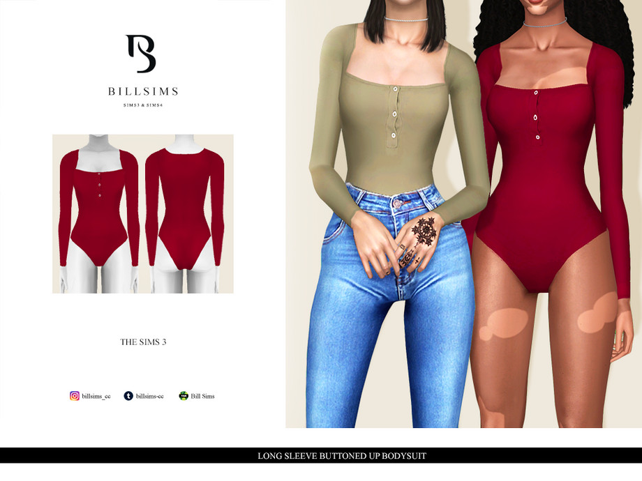 Long Sleeve Buttoned Up Bodysuit by Bill Sims