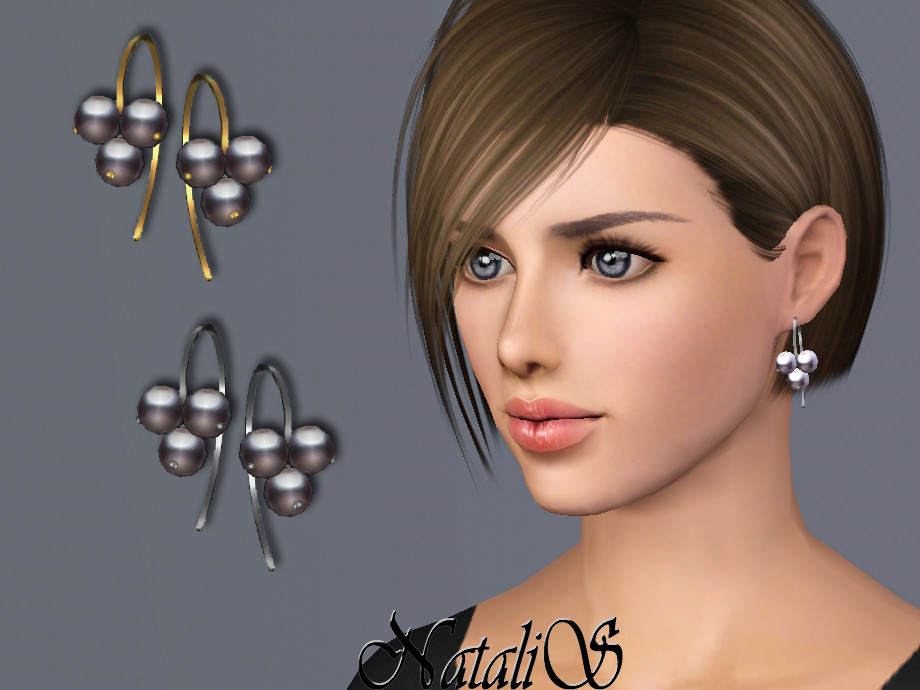 NataliS TS3 Cluster pearl wire earrings
