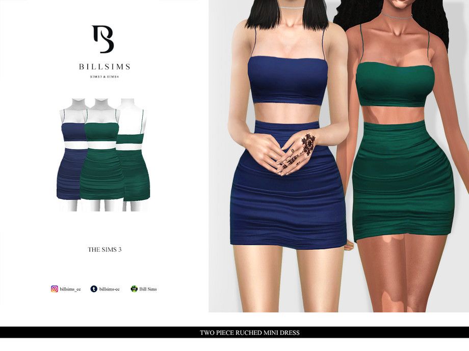 Two Piece Ruched Mini Dress by Bill Sims