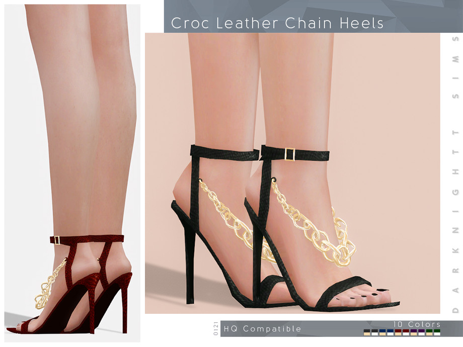 Croc Leather Chain Heels by DarkNighTt