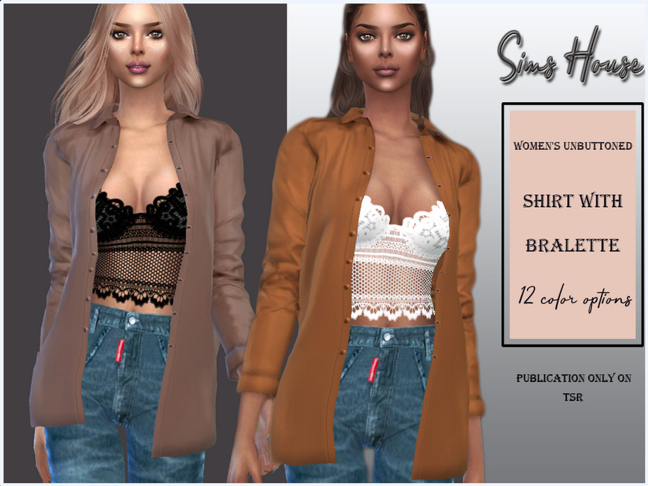 Women's unbuttoned shirt with bralette by Sims House