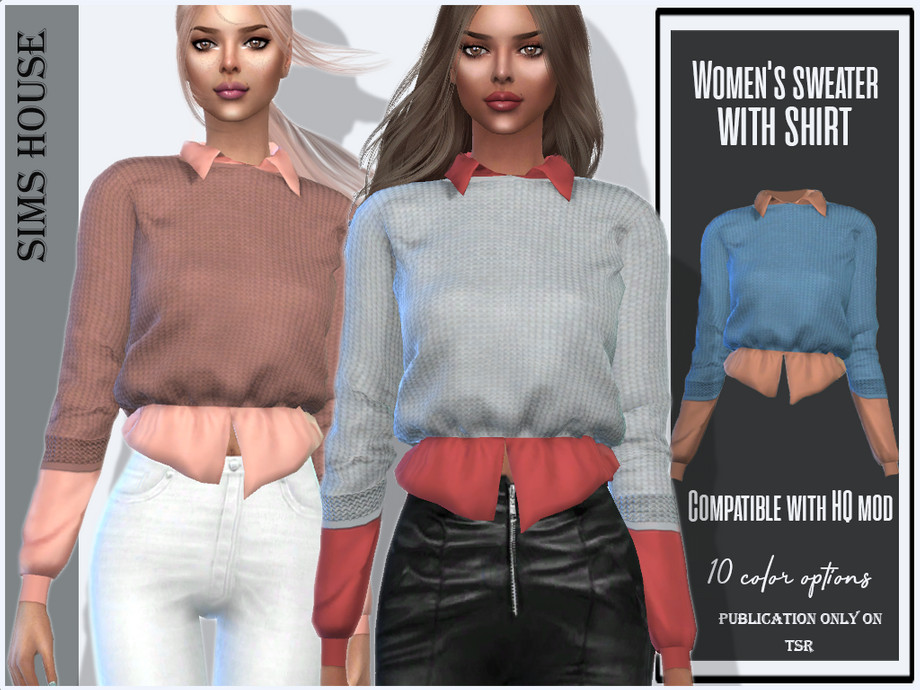 Women's sweater with shirt by Sims House