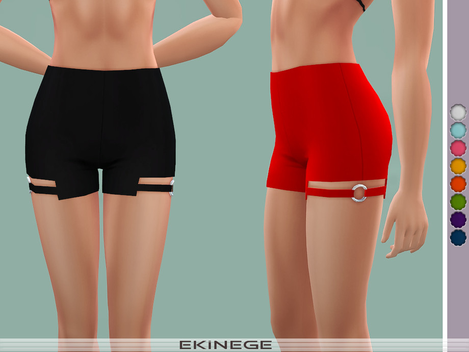 O-Ring Detail Cut-Out Shorts by ekinege
