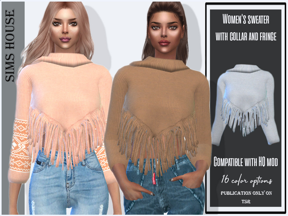 Women's sweater with collar and fringe by Sims House