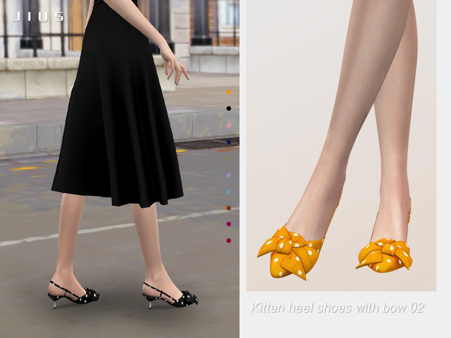 Jius-Kitten heel shoes with bow 02
