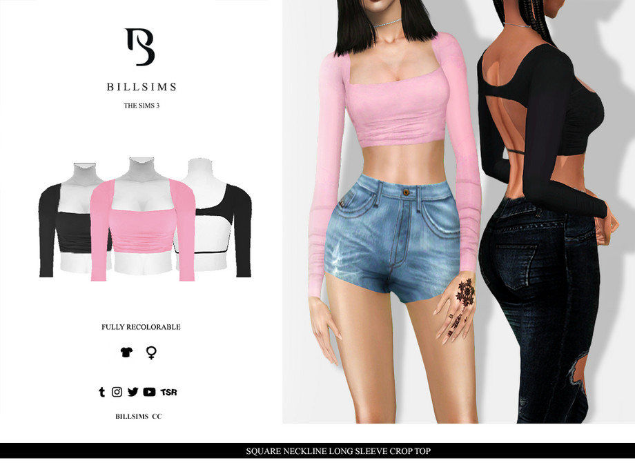 Square Neckline Long Sleeve Crop Top by Bill Sims