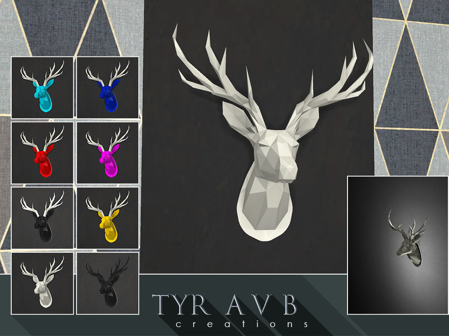 LED backlit Wall Art Origami Deer Head - (wall lamp) by TyrAVB