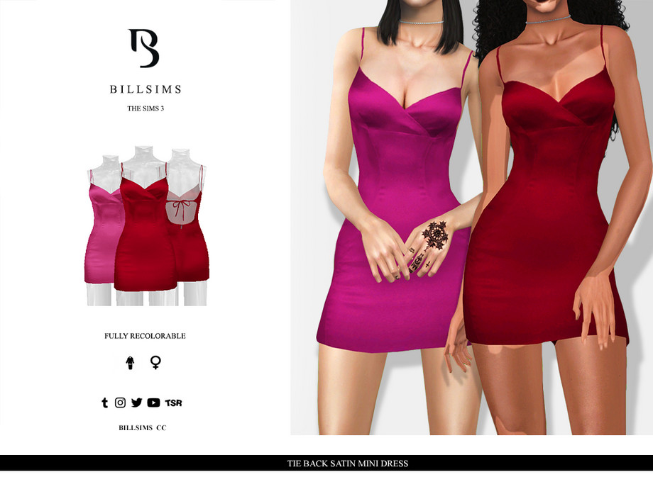 Tie Back Satin Mini Dress by Bill Sims