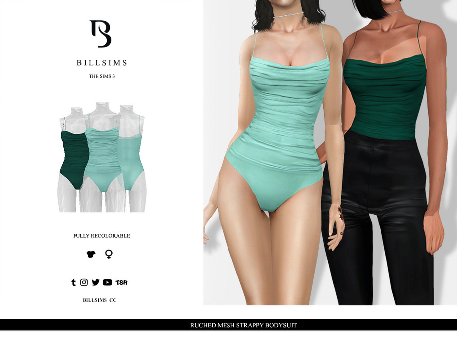 Ruched Mesh Strappy Bodysuit by Bill Sims